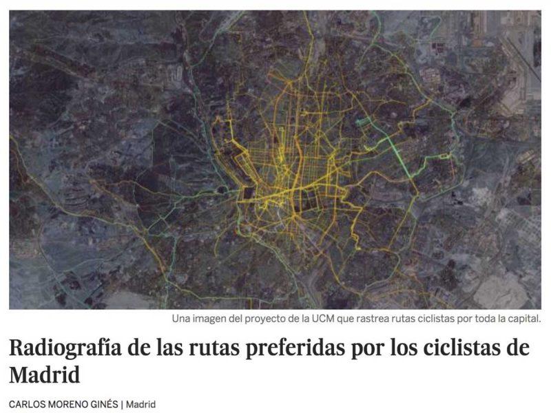 El País publica la investigación sobre la Huella Ciclista de Madrid